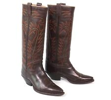 Classic Vintage Austin Hall Cowboy Boots Mens 8.5D Tall Heel X Toe Pointy Brown