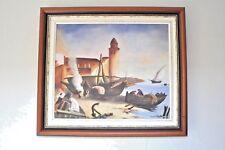 PEINTURE TABLEAU DE COLLIOURE coté Drouot de PULPITO Vincent : BARQUES-CLOCHER