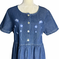 Vintage Denim Button Up Dress 18 Blue Floral Embroidery Maxi Pockets Modest