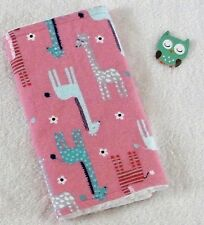 Handcrafted, Flannel Corral Giraffe and White Minky Bubble,Baby Burp Cloth