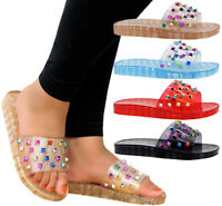 Ladies Womens Sparkly Studded Summer Beach Slip On Sliders Mules Sandals Shoes