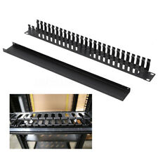 1U Horizontal Rack Mount Cable Management Unit Panel Metal + Plastic 19 Inch