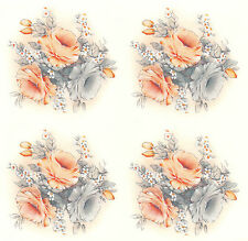 Ceramic Decals Peach & Grey Rose Bouquet & Bits Floral Flower
