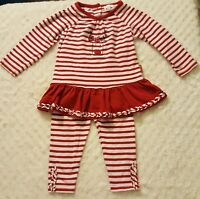 BEAUTIFUL! Le Top 12 Month Baby Girls Christmas Outfit Red White Stripe Reindeer