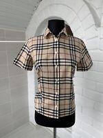 Women's Burberry London Beige Full Nova Check Short Sleeve Shirt US-4 UK-8