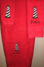 Lighthouse Nautical Striped Personalized 3 Piece Bath Towel Set Color Choice