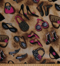 Fashionista Shoes Purses Sunglasses Leopard Print Fleece Fabric Print A332.08