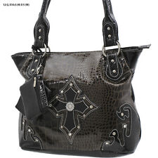 1188 BROWN CROSS RHINESTONE WESTERN PURSE CONCEALED CARRY WEAPON COWGIRL BAG