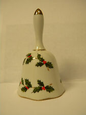 China Bell Collectible 1985 Lefton Christmas Holly Bell #05249 Cream Green Red