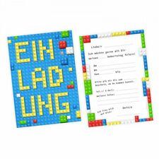 5 Einladungskarten Bausteine Bricks Bauklötze inkl.Umschlag Kindergeburtstag