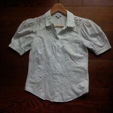 Alice by Temperley blouse/ shirt, white, embroidered, Size UK6