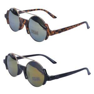 Retro 90s Stil Runde Linse Brow Bar Sonnenbrille verspiegelt Steampunk Goggles aserbaidschanische