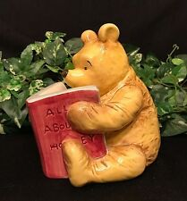 """Classic WINNIE THE POOH Disney Charpente BANK Reading """"All About Honey"""" Book VTG"""
