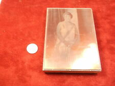 NEAT OLD VTG ANTIQUE COPPER/WOOD PRINTING BLOCK, PHOTO PORTRAIT OF LADY STANDING