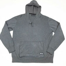 The Hundreds Hooded Sweater XL Zip Off Button Pouch Gray Hoodie RARE Streetwear