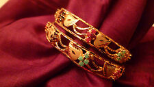 GOLD PLATED 2 BANGLES KADAS INDIAN WEDDING JEWELLERY FESTIVE SMALL SIZE BRIDAL