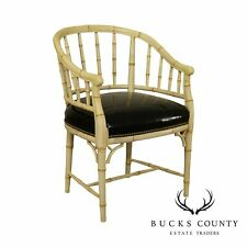 Century Hollywood Regency Style Faux Bamboo Panted Barrel Bach Chair