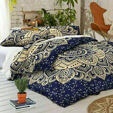 Indian Blue Gold Mandala 100% Cotton Quilt Duvet Cover Queen Bohemian Bedding St
