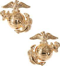 Gold USMC Globe & Anchor US Marines Logo Insignia Set