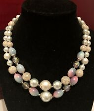 Strand Robins Egg Signed Japan Vtg Graduated Glass Bead Necklace Double