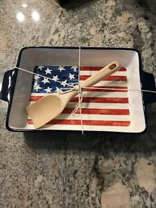 Pier 1 4th Of July Star Spangled Flag Baker & Wooden Spoon Set