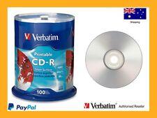 ($0 p&h) Verbatim Blank Silver CD Inkjet Print CD-R 700MB Spindle 100 PN 95144