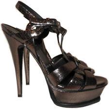 Ysl Yves Saint Laurent Black Metalli Leather Tribute T-Strap Sandal Pump Shoe 37