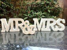 Onorevole & Mrs bianco LAVARE LEGNO FREE STANDING lettere WEDDING TAVOLO DECORAZIONE REGALO