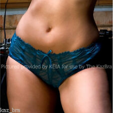 New Georgie Teal Greeny Blue briefs UK 8 Ribbon lace up back Pants knickers sexy