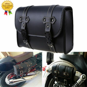 Fit Harley Motorcycle Double Buckles Left&Right Side Saddle Bag Leather Tool Bag