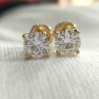 4 mm Solitaire Round Cut Moissanite Stud Earring 14k Yellow Gold GP Screw Back