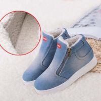 Winter Women's Snow Boots Denim Fleece Lined Canvas Flats Zip Warm Ankle Shoes