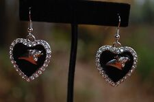 Carolina Panthers rhinestone bling  black enamel heart shaped earrings