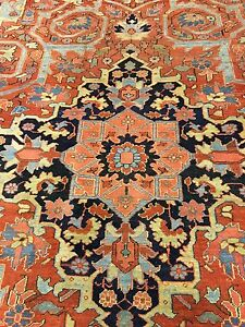 Antique Rug 19th CENTURY FINE PERSIAN Heriz circa 1890-1910 12'x9'/ 357cmx262c
