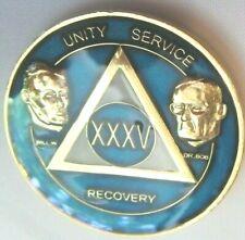 Alcoholics Anonymous 35 Year Blue Medallion Bill Dr Bob Coin Token Sober Sobrety