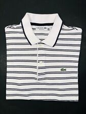Lacoste 3 🐊Men's Polo Shirt Size 3 S Small Regular Fit White Black Striped EUC