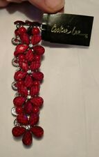Beautiful Cookie Lee Stretch Bracelet Red Faceted Crystals Red Beads Silvertone