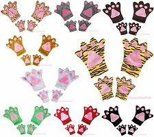 Halloween Xmas Party School Child Kids Adult Costume Unisex Gloves Paws 2pc Set