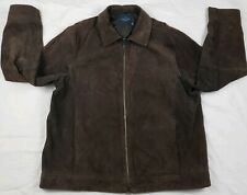 Faded Glory Mens Suede Leather Jacket Coat Coffee Brown Size L