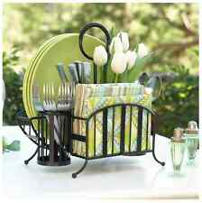 Picnic Caddy Flatware Plates Napkin Holder Table Organizer Party Holiday Storage
