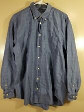 Hickey Freeman Mens Long Sleeve Button Up Plaid Size Large Blue