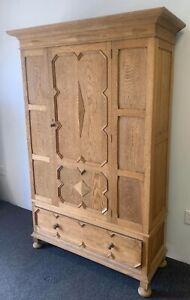 Antique Oak wood Armoire Wardrobe cabinet linen chest Disassembles 1800s