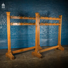 More details for pair of 1920s oak and brass hat racks