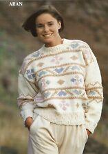 Ladies Aran sweater knitting pattern, jumper, pullover, woman's