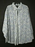 Stantt Mens Blue Floral Dress Shirt Button Front/Cuffs Cotton Customized Datafit