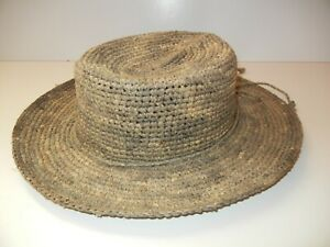 CORROBOREE HAT CO Australia Brown ALL-STRAW WIDE BRIM CAP Summer Beach Sun Sz L