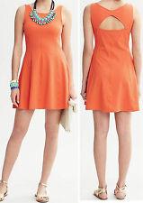 NWT Banana Republic Size 14 Orange Jersey Knit Cutout Back Fit & Flare Dress