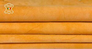ORANGE PEACH SUEDE genuine Goatskin Goat leather 2 skins total 7sqf 0.6mm #A8173