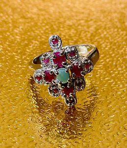 NEW GENUINE RUBY-EMERALD WITH STERLING SILVER RHODIUM PLATED RING SIZE 8