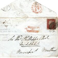 GB Cover Worcestershire Fine *MISSENT TO WORCESTER* 1d Red 1853 {samwells} 86.5